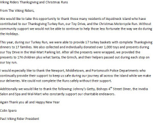 Viking Riders' Thank You Letter
